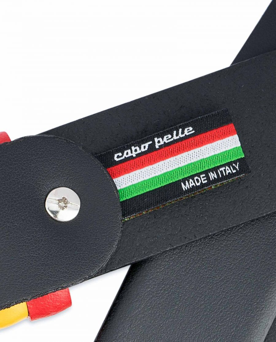Black-Leather-Belt-with-Belgium-Flag-Colors-Woven-label