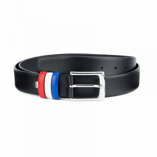 Black-Leather-Belt-with-France-Flag-Colors-Capo-Pelle