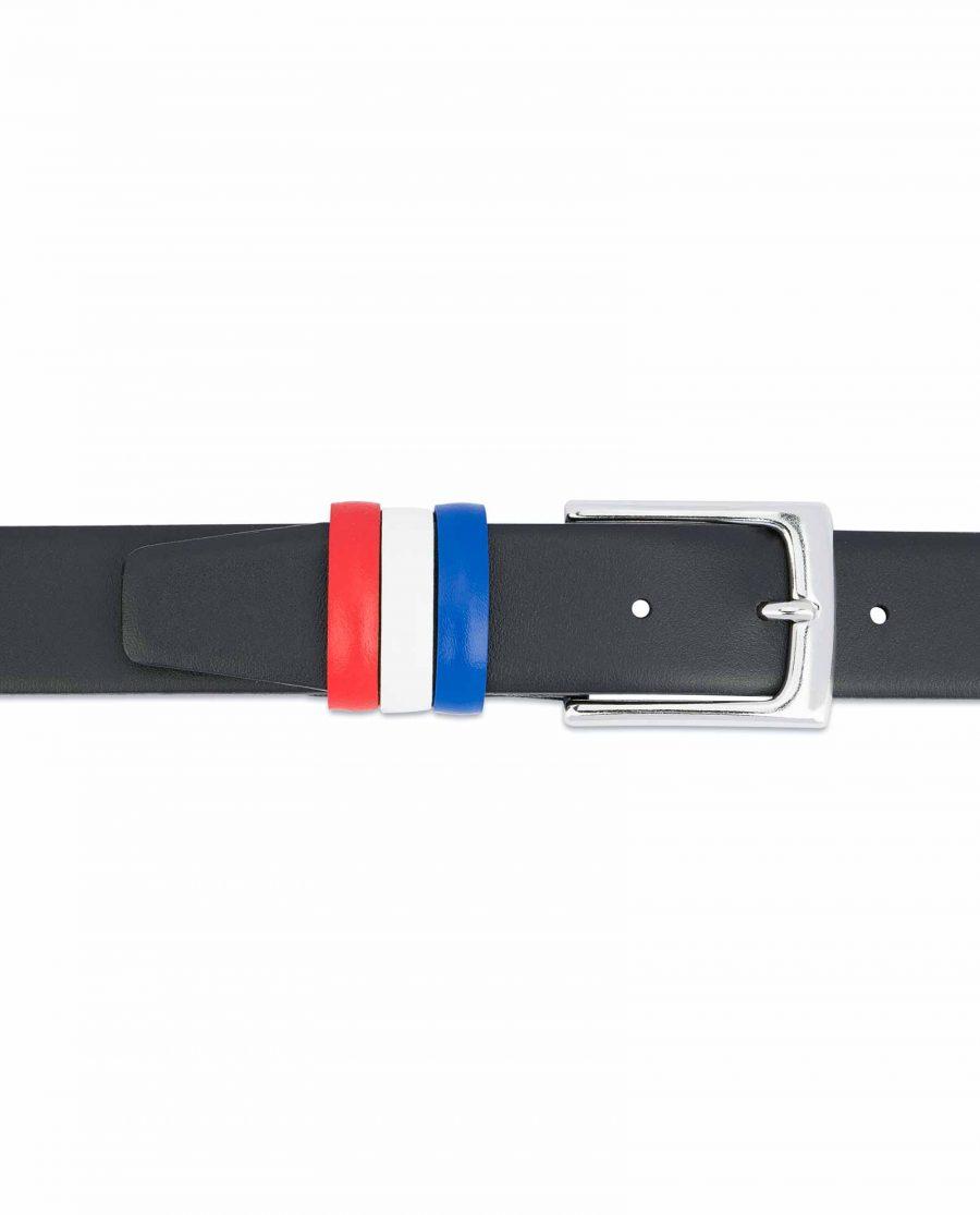 Black-Leather-Belt-with-France-Flag-Colors-Genuine-calfskin