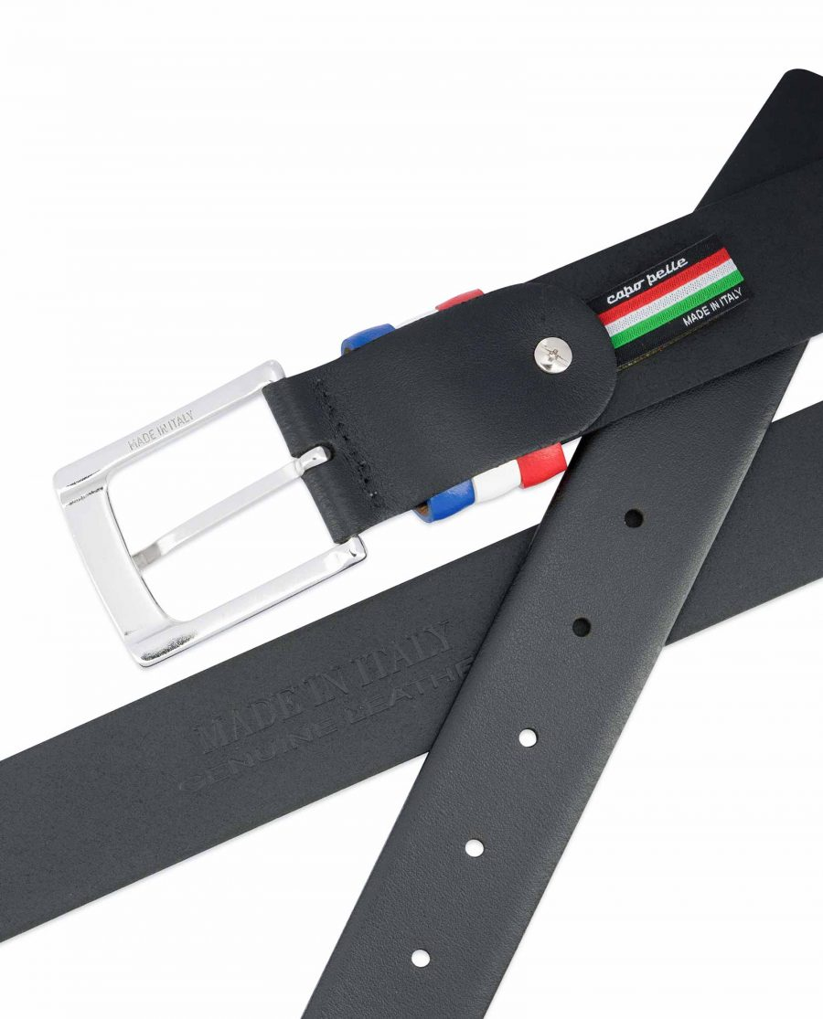 Black-Leather-Belt-with-France-Flag-Colors-Made-in-Italy