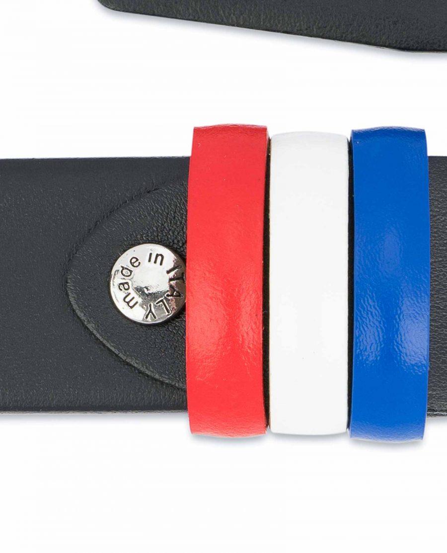 Black-Leather-Belt-with-France-Flag-Colors-Screw-bolt