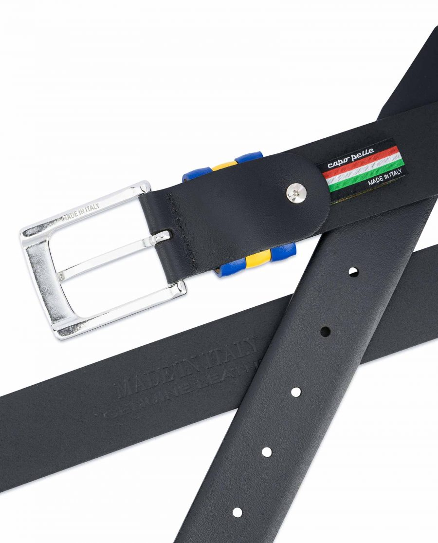 Black-Leather-Belt-with-Sweden-Flag-Colors-Made-in-Italy
