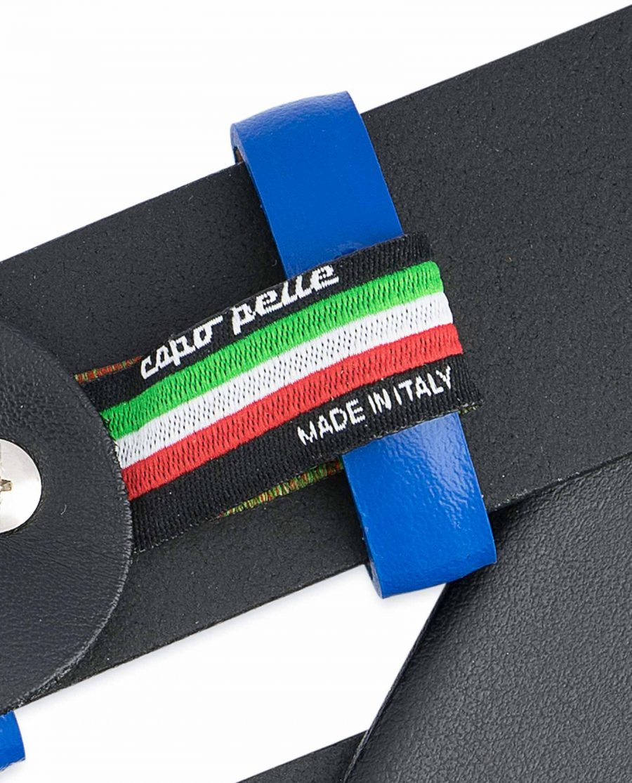 Black-Mens-Belt-with-Blue-Leather-Loops-Brand-label