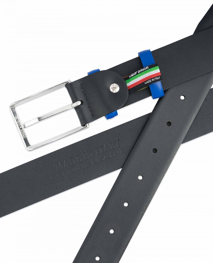 Black-Mens-Belt-with-Blue-Leather-Loops-Heat-stamp