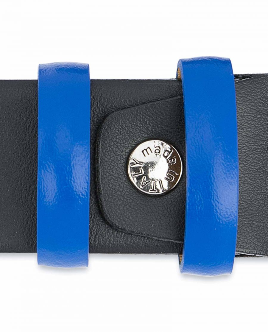 Black-Mens-Belt-with-Blue-Leather-Loops-Screw