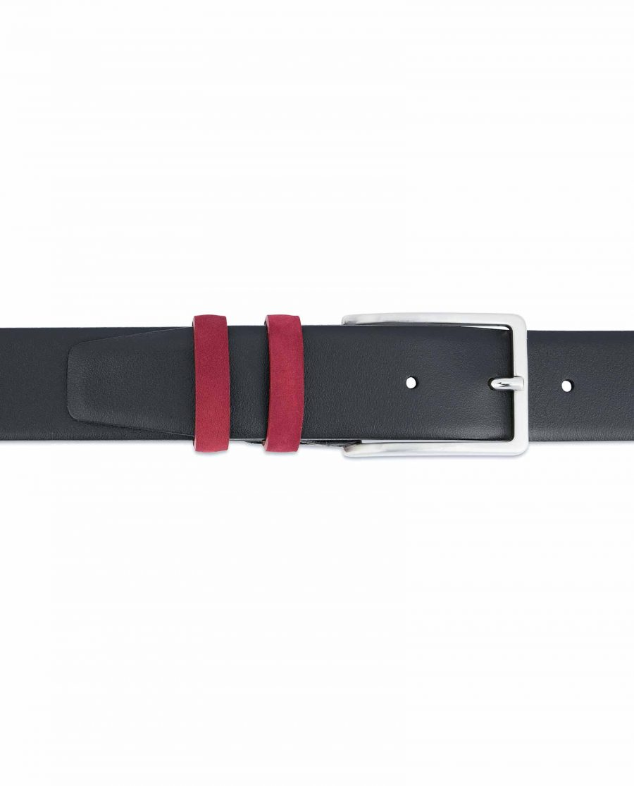 Black-Mens-Belt-with-Burgundy-Suede-Leather-Loops-On-trousers