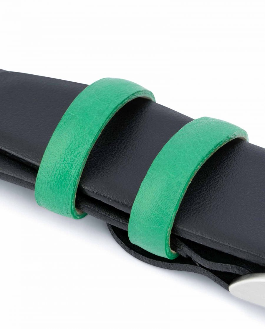Black-Mens-Belt-with-Green-Leather-Loops-Calfskin