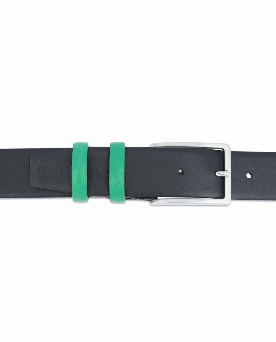 Black-Mens-Belt-with-Green-Leather-Loops-On-trousers