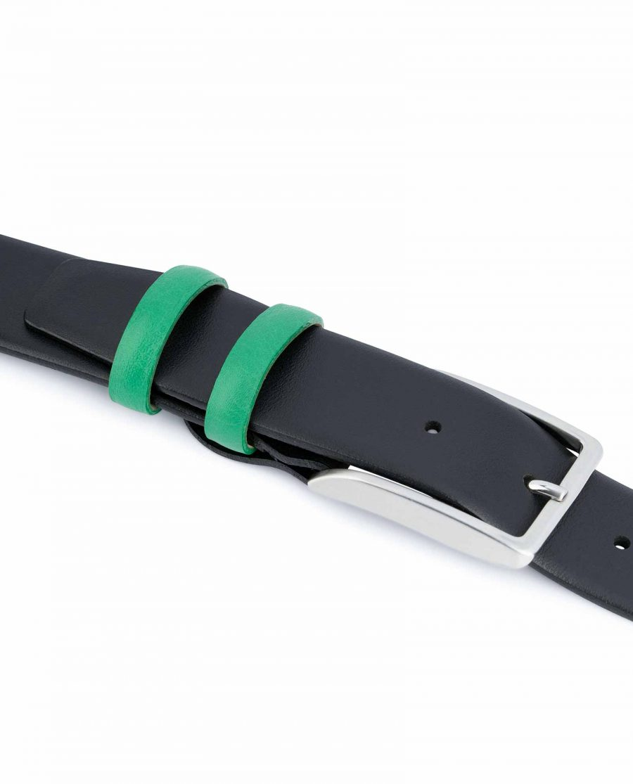 Black-Mens-Belt-with-Green-Leather-Loops-Quality