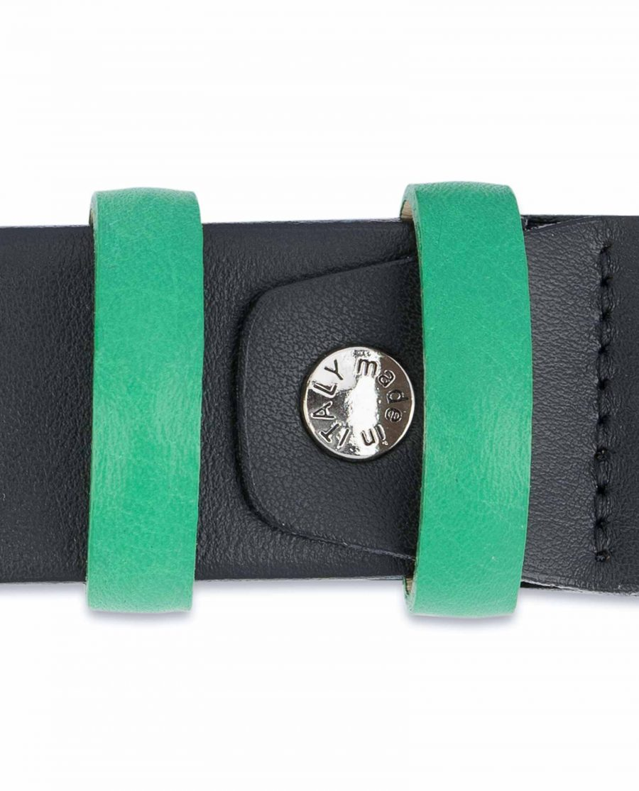 Black-Mens-Belt-with-Green-Leather-Loops-Screw