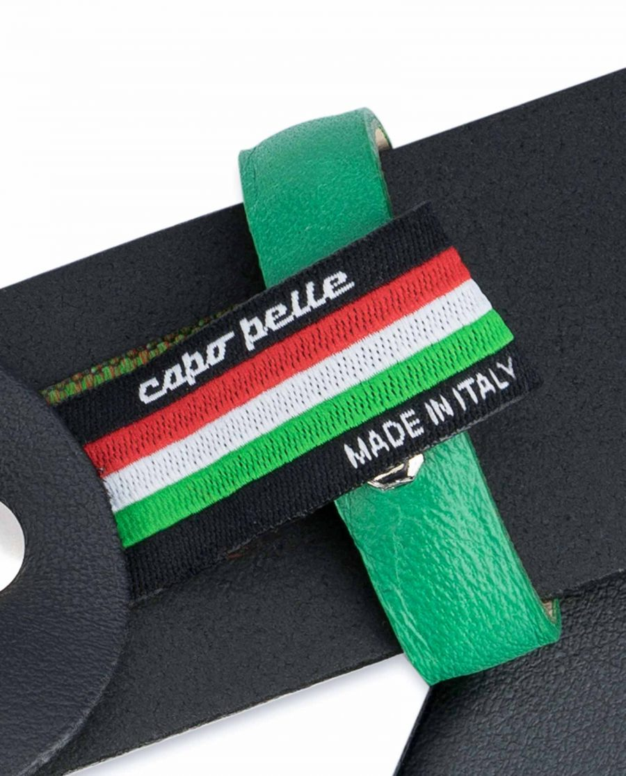 Black-Mens-Belt-with-Green-Leather-Loops-Woven-tag