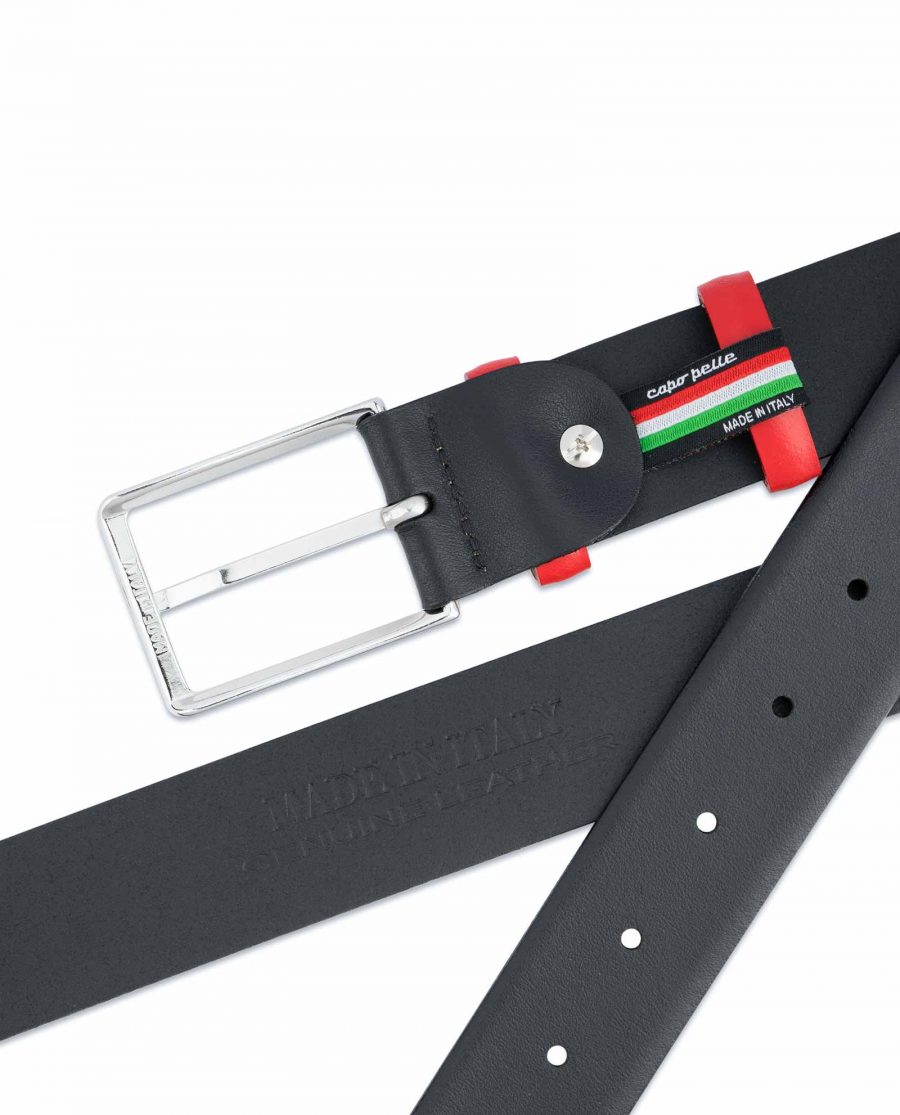 Black-Mens-Belt-with-Red-Leather-Loops-Heat-stamp