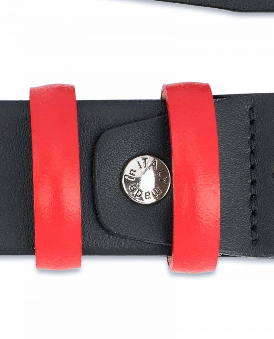 Black-Mens-Belt-with-Red-Leather-Loops-Screw-bolt