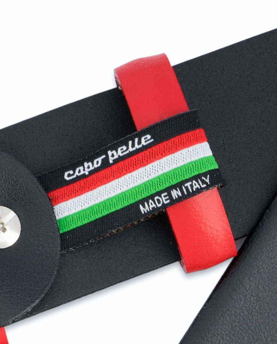 Black-Mens-Belt-with-Red-Leather-Loops-Woven-label