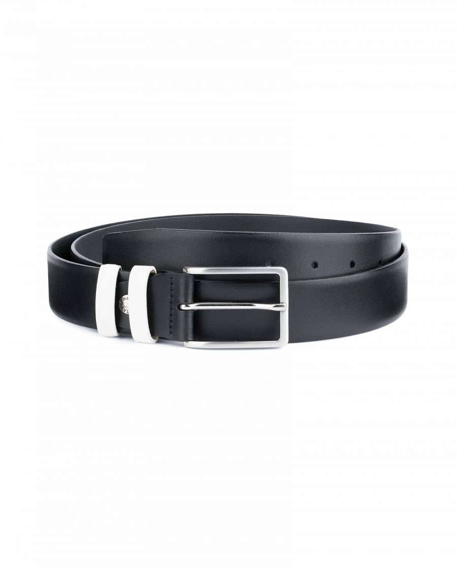 Black-Mens-Belt-with-White-Leather-Loops-Capo-Pelle