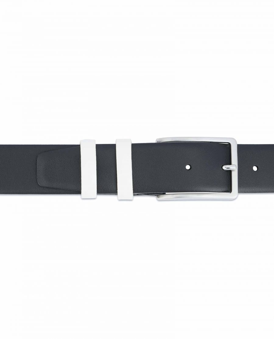 Black-Mens-Belt-with-White-Leather-Loops-On-pants