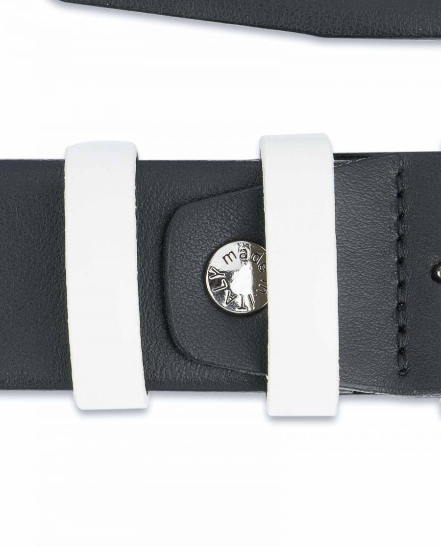 Black-Mens-Belt-with-White-Leather-Loops-Screw
