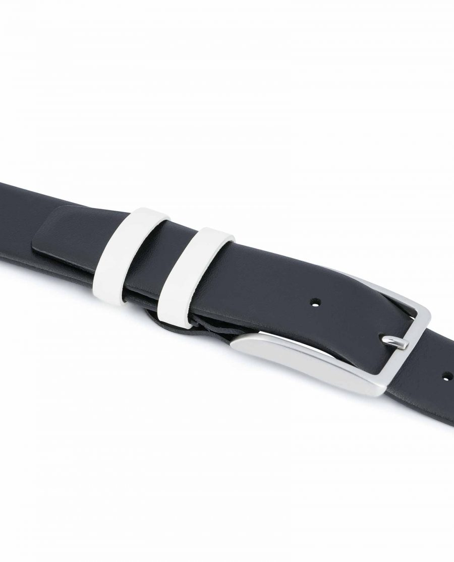 Black-Mens-Belt-with-White-Leather-Loops-Summer