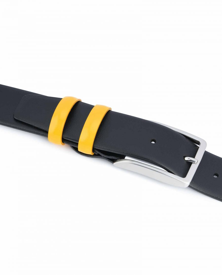 Black-Mens-Belt-with-Yellow-Leather-Loops-Keepers