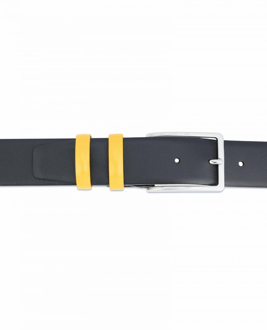 Black-Mens-Belt-with-Yellow-Leather-Loops-On-jeans
