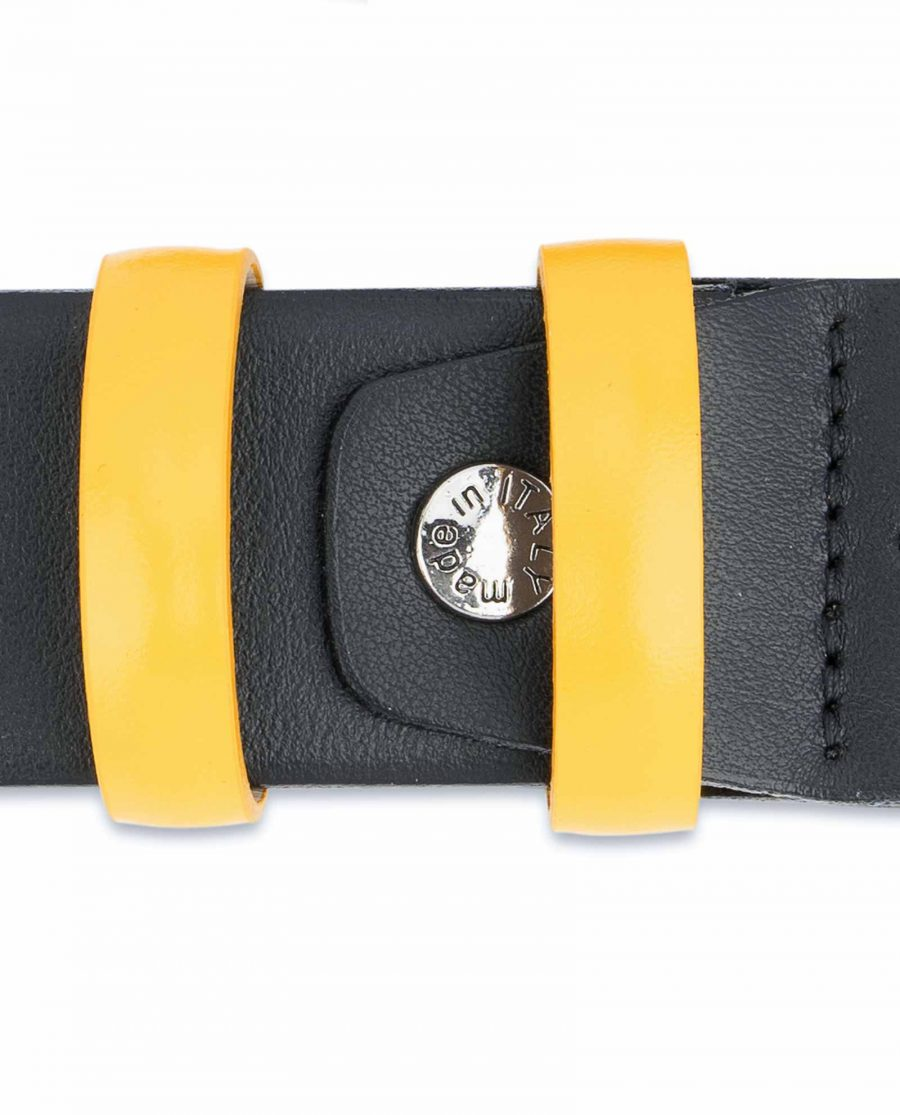 Black-Mens-Belt-with-Yellow-Leather-Loops-Screw-bolt