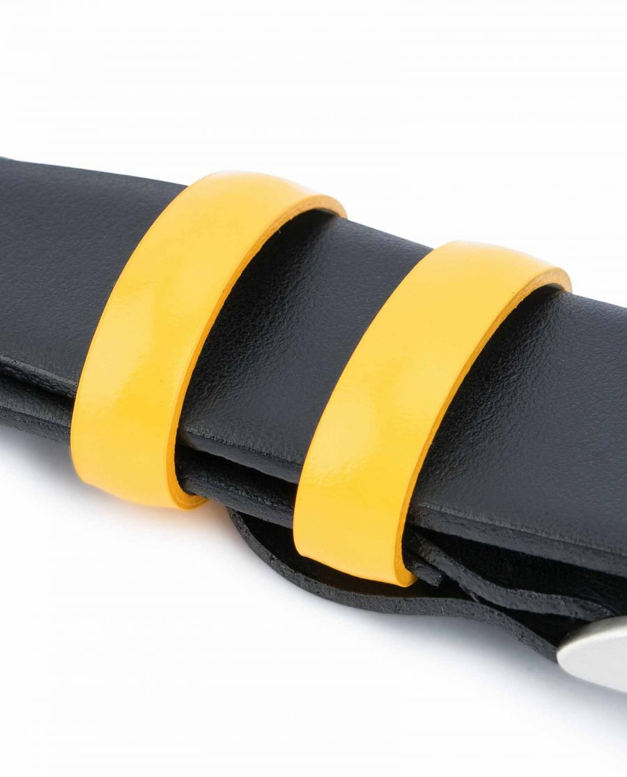 Black-Mens-Belt-with-Yellow-Leather-Loops-Spare-keepers