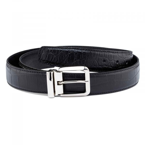 Black-Mens-Croco-Embossed-Belt-Main-picture
