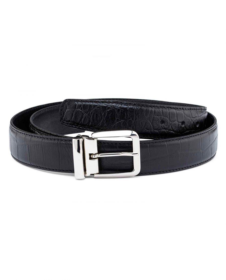 Black-Mens-Croco-Embossed-Belt-Main-picture