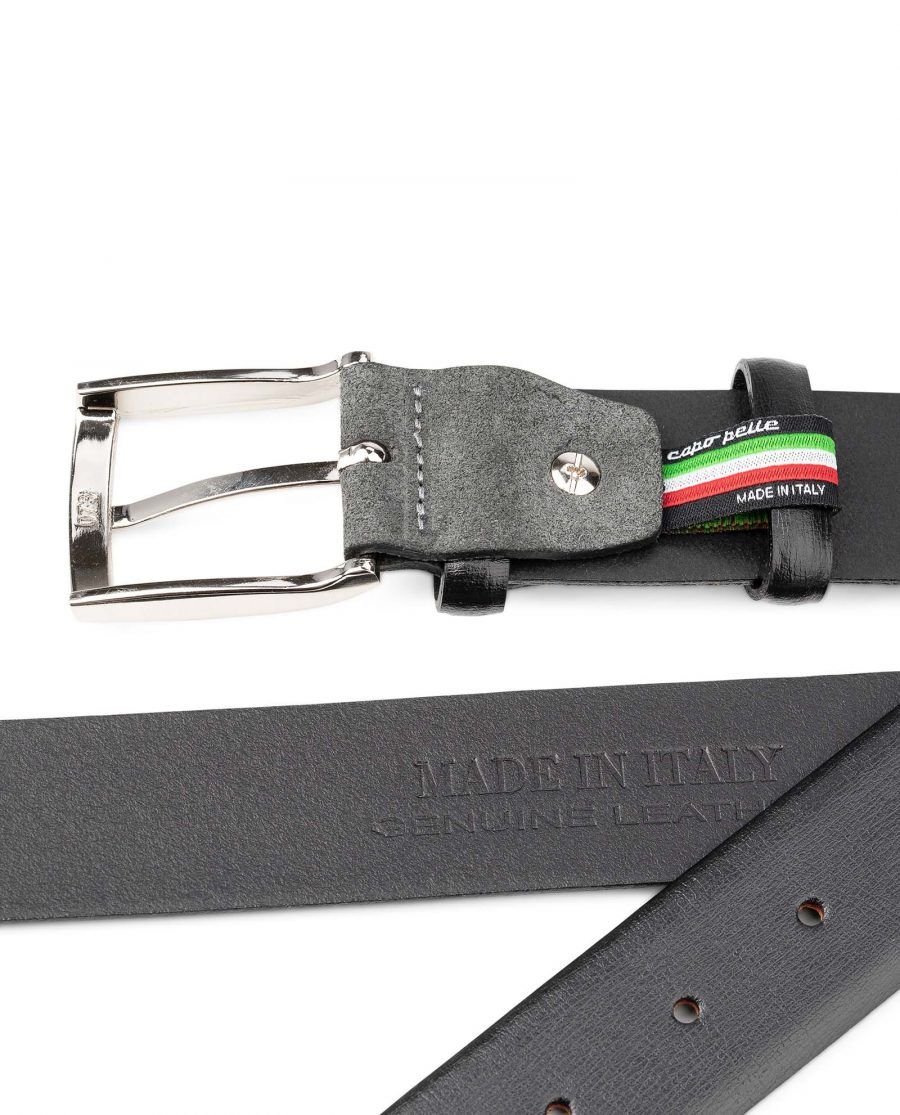 Black-Smooth-Leather-Belt-with-Custom-Buckle-Gray-Suede-Mens-by-Capo-Pelle-Heat-stamp