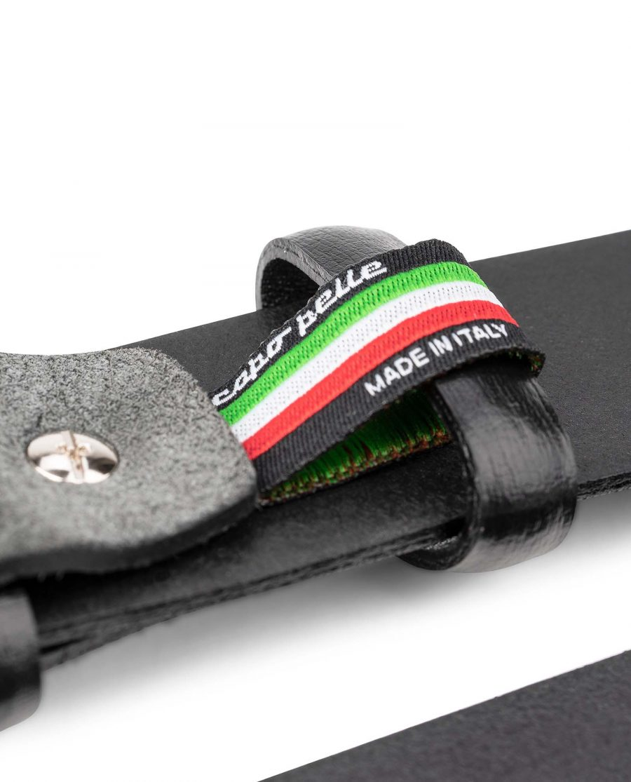 Black-Smooth-Leather-Belt-with-Custom-Buckle-Gray-Suede-Mens-by-Capo-Pelle-Made-in-Italy