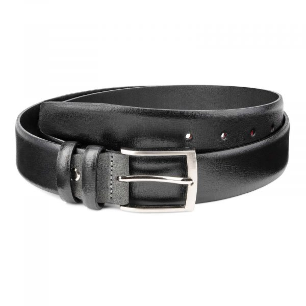 Black-Smooth-Leather-Belt-with-Custom-Buckle-Gray-Suede-Mens-by-Capo-Pelle-Main-picture