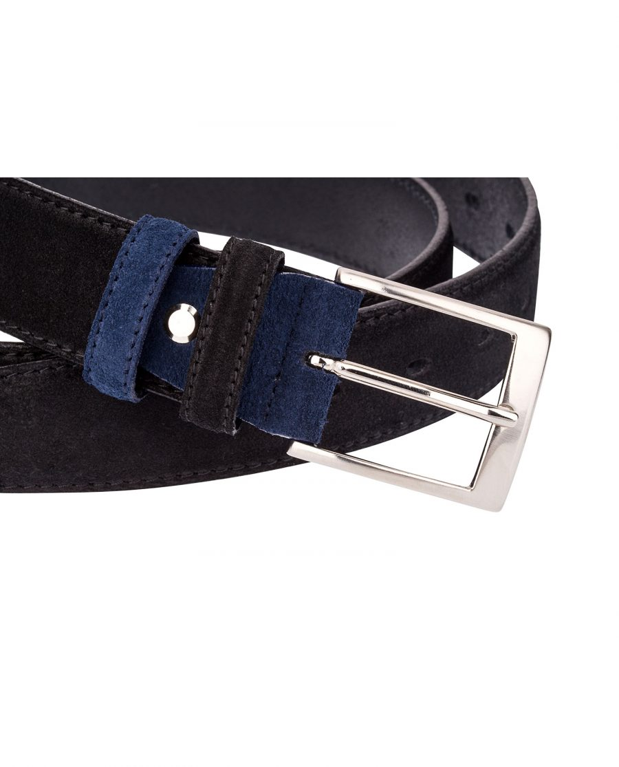 Black-Suede-Belt-Blue-Buckle-close