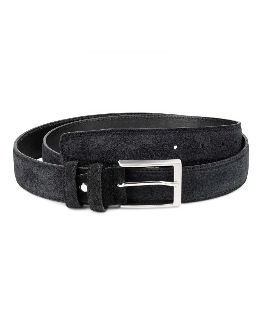 Black-Suede-Belt-Mens-35-mm-Italian-Leather-by-Capo-Pelle-Frontpage-image