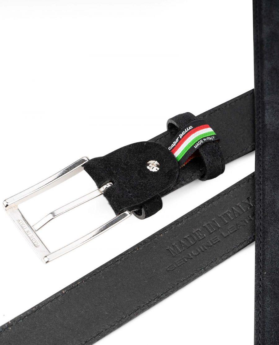 Black-Suede-Belt-Mens-35-mm-Italian-Leather-by-Capo-Pelle-Heat-Stamp-Emboss