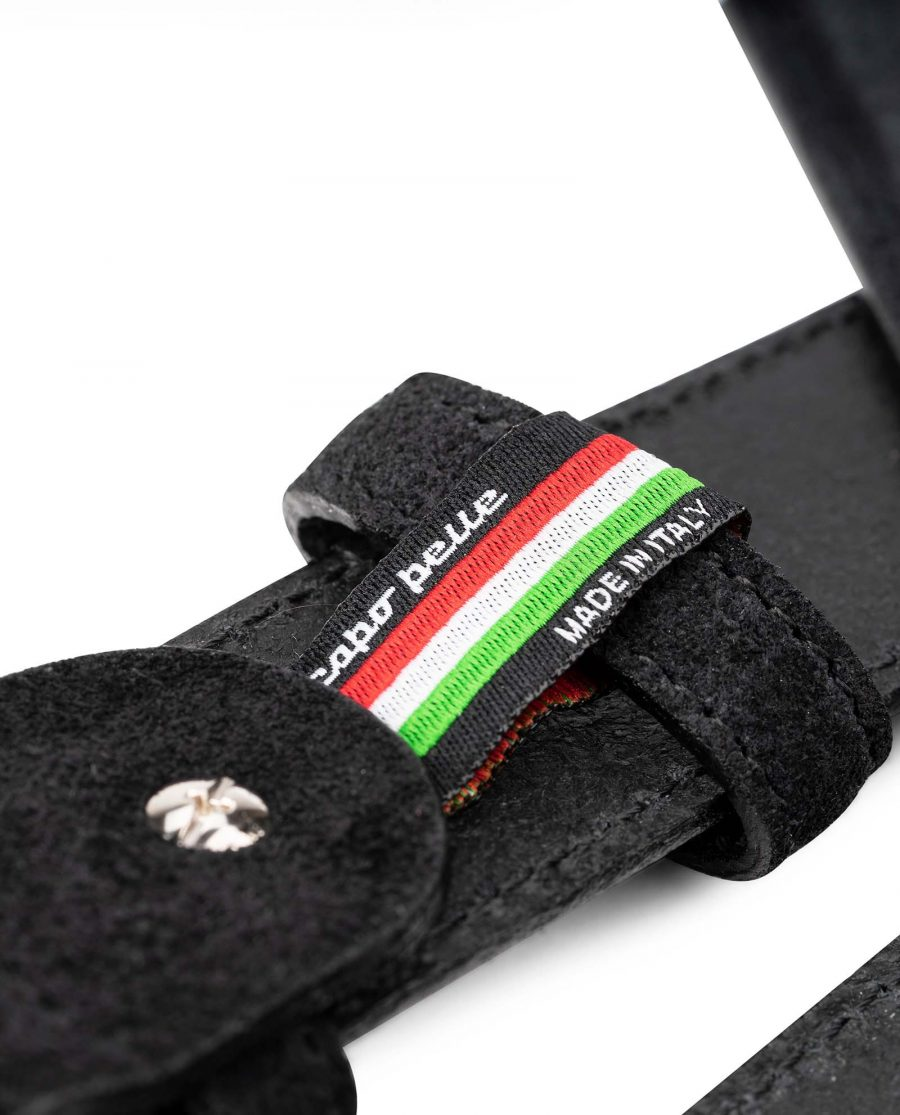 Black-Suede-Belt-Mens-35-mm-Italian-Leather-by-Capo-Pelle-Made-in-Italy