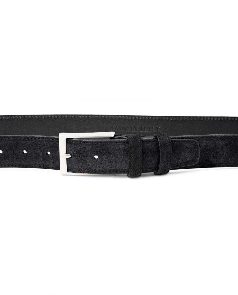 Black-Suede-Belt-Mens-35-mm-Italian-Leather-by-Capo-Pelle-on-Trousers