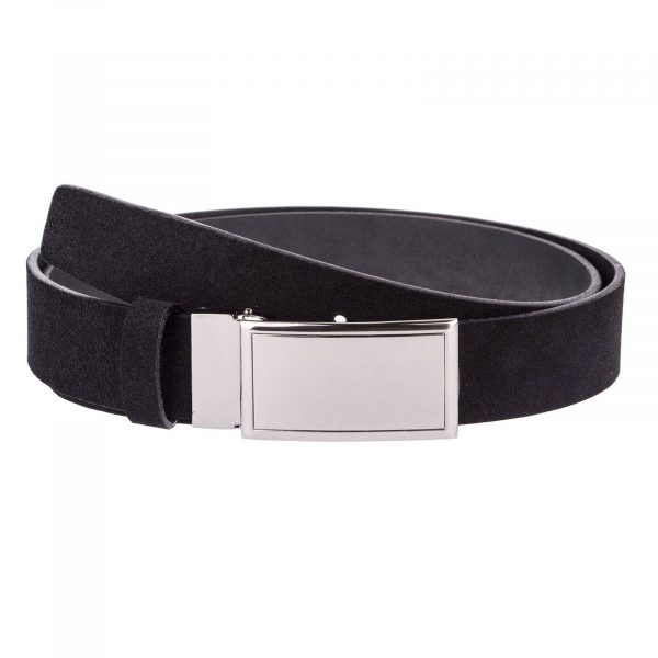 Black-Suede-Belt-With-Buckle-Front