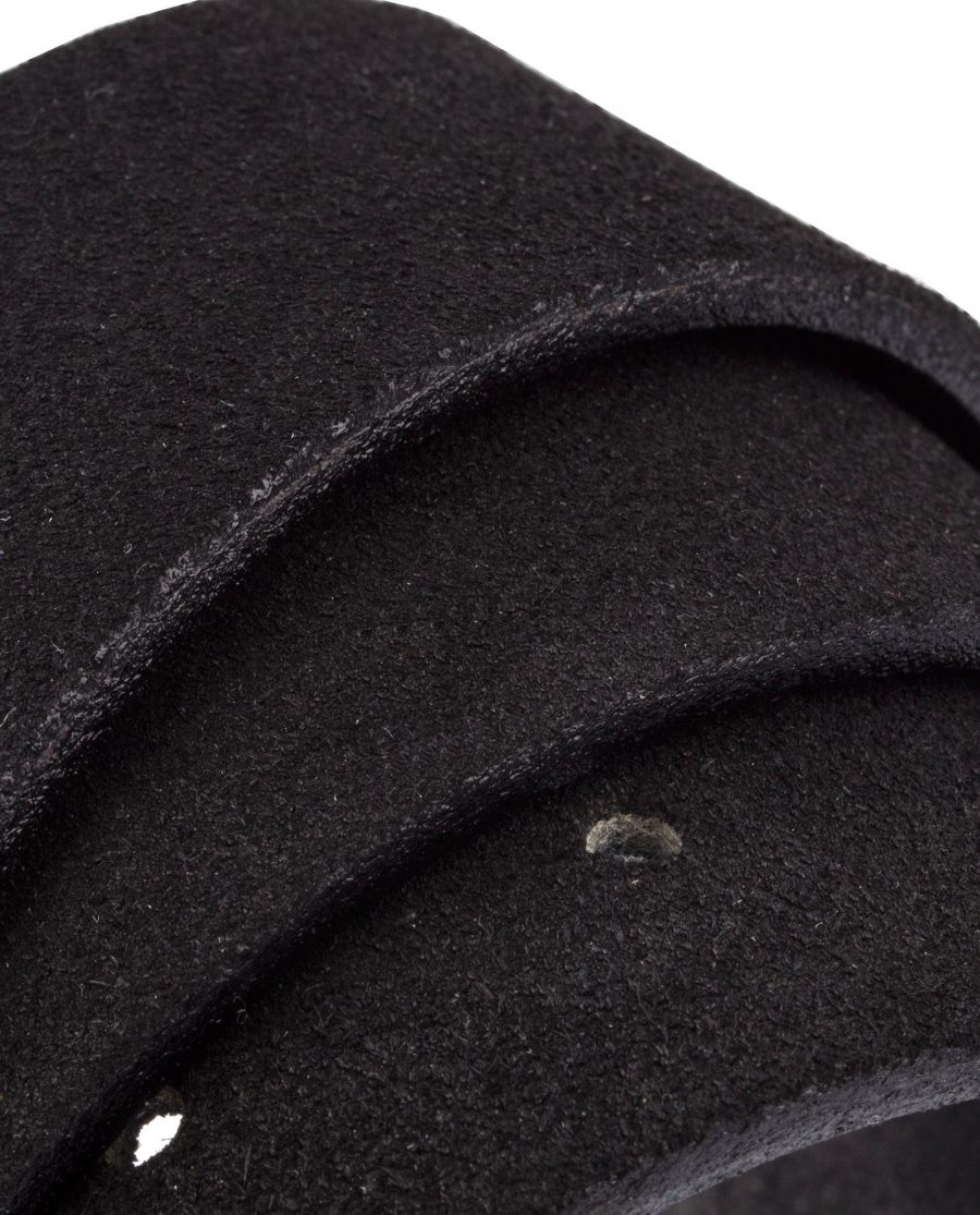 Black-Suede-Belt-With-Buckle-Rolled