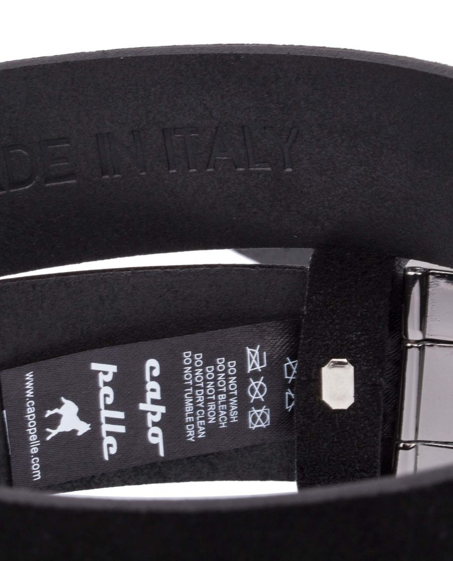 Black-Suede-Belt-With-Buckle-Rolled-Care-tag