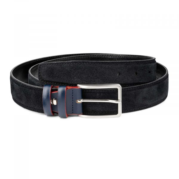 Black-Suede-Belt-with-Custom-Blue-Buckle-Mens-by-Capo-Pelle-First-image