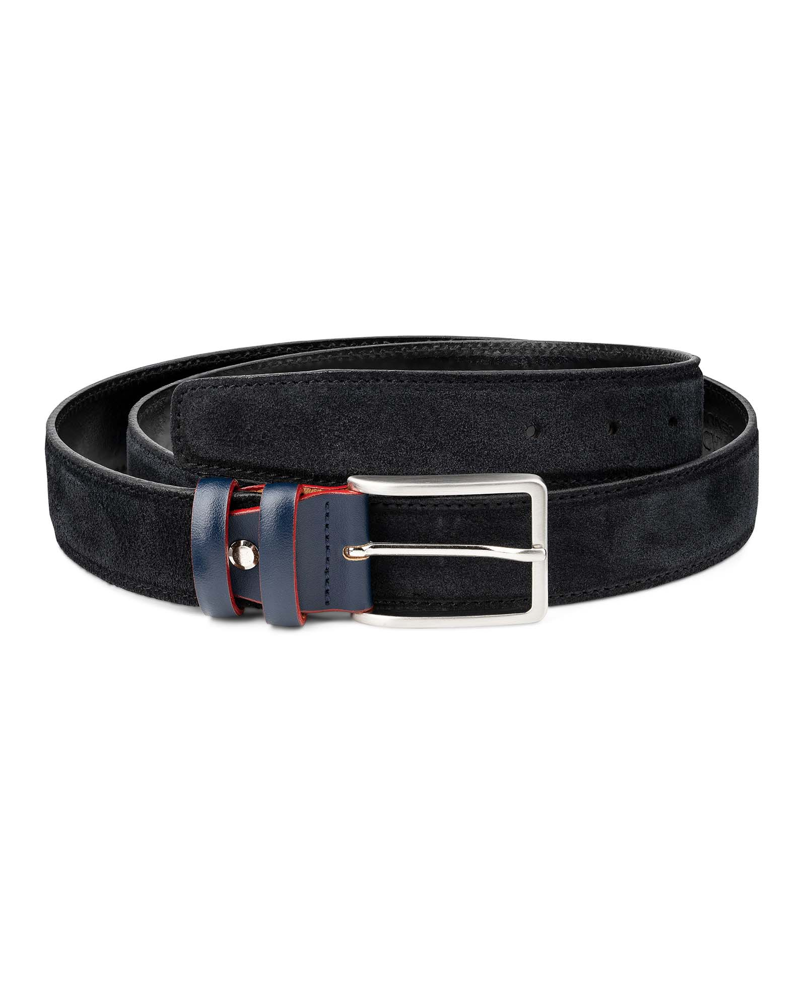 New Mens Navy Blue Smooth Genuine Suede Leather 35mm Nice Classic Belt