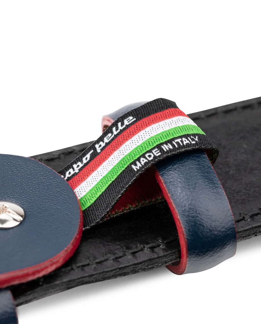 Black-Suede-Belt-with-Custom-Blue-Buckle-Mens-by-Capo-Pelle-Made-in-Italy
