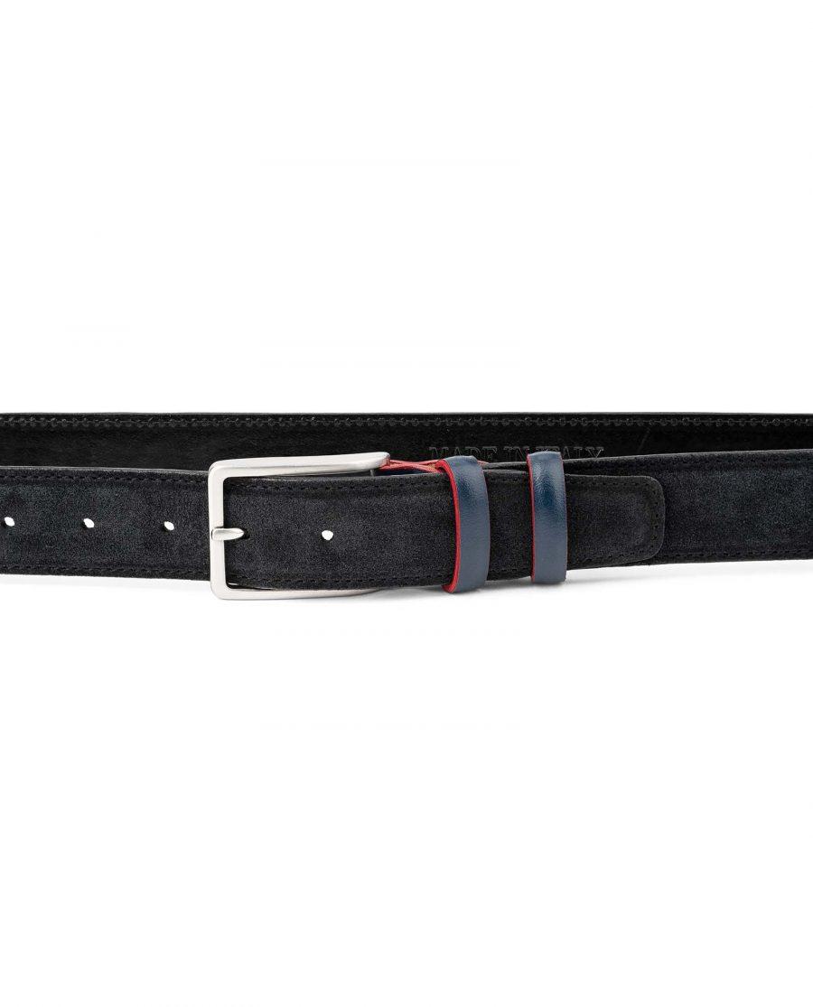 Black-Suede-Belt-with-Custom-Blue-Buckle-Mens-by-Capo-Pelle-on-Pants