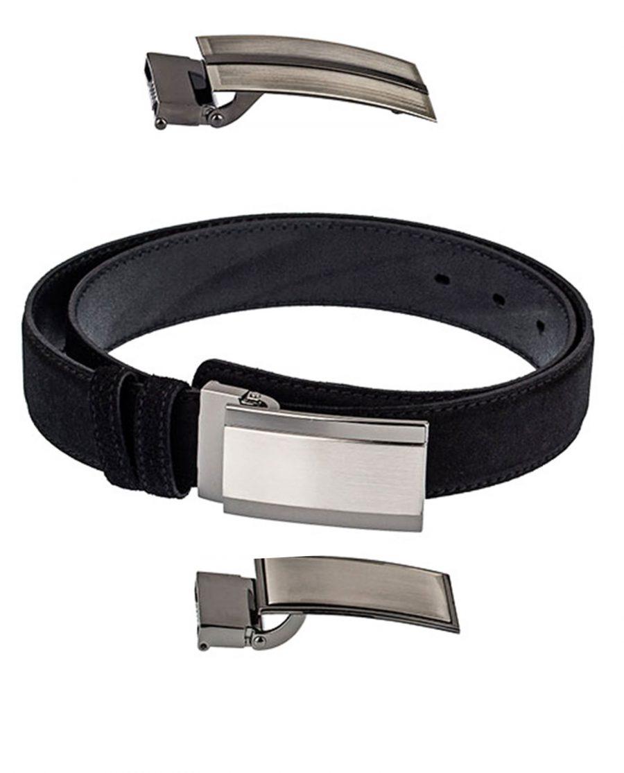 Black-Suede-Three-Buckles-Belt-Set