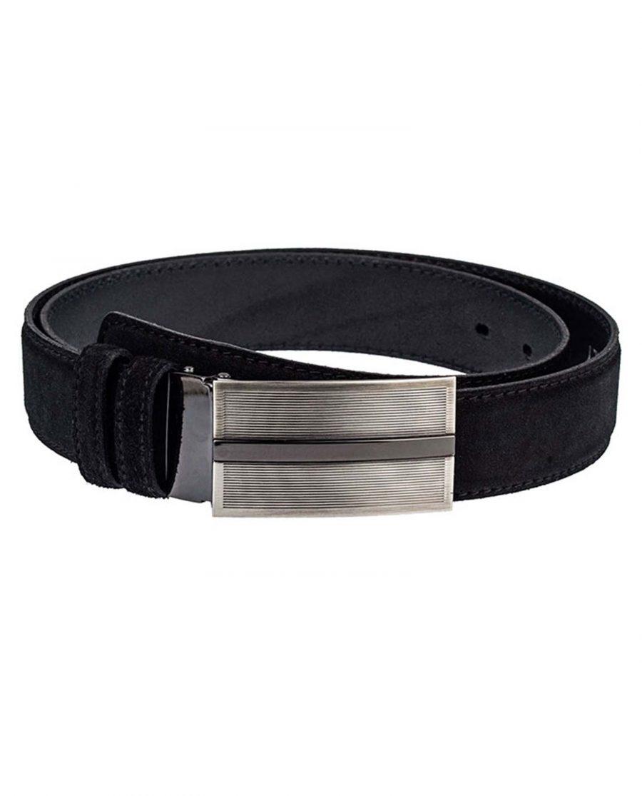 Black-Suede-Three-Buckles-Belt-Set-Front-Image1