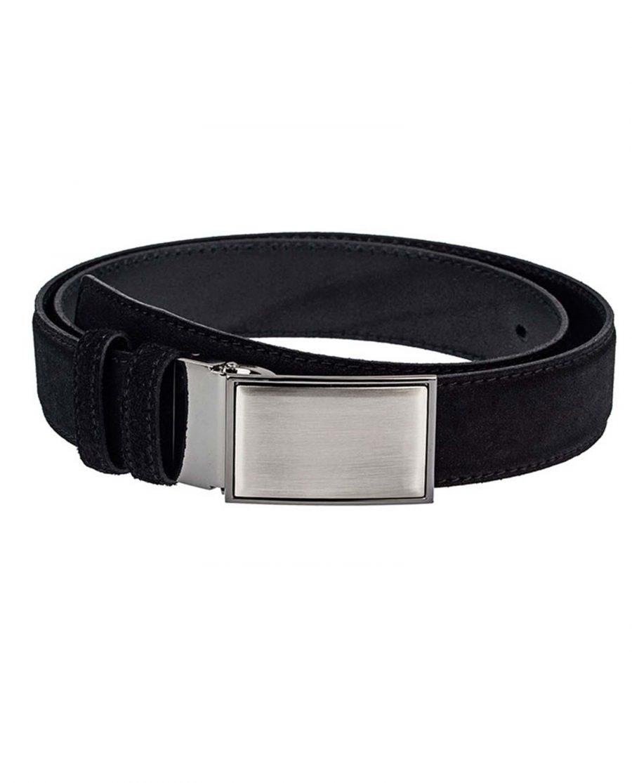 Black-Suede-Three-Buckles-Belt-Set-Front-Image2