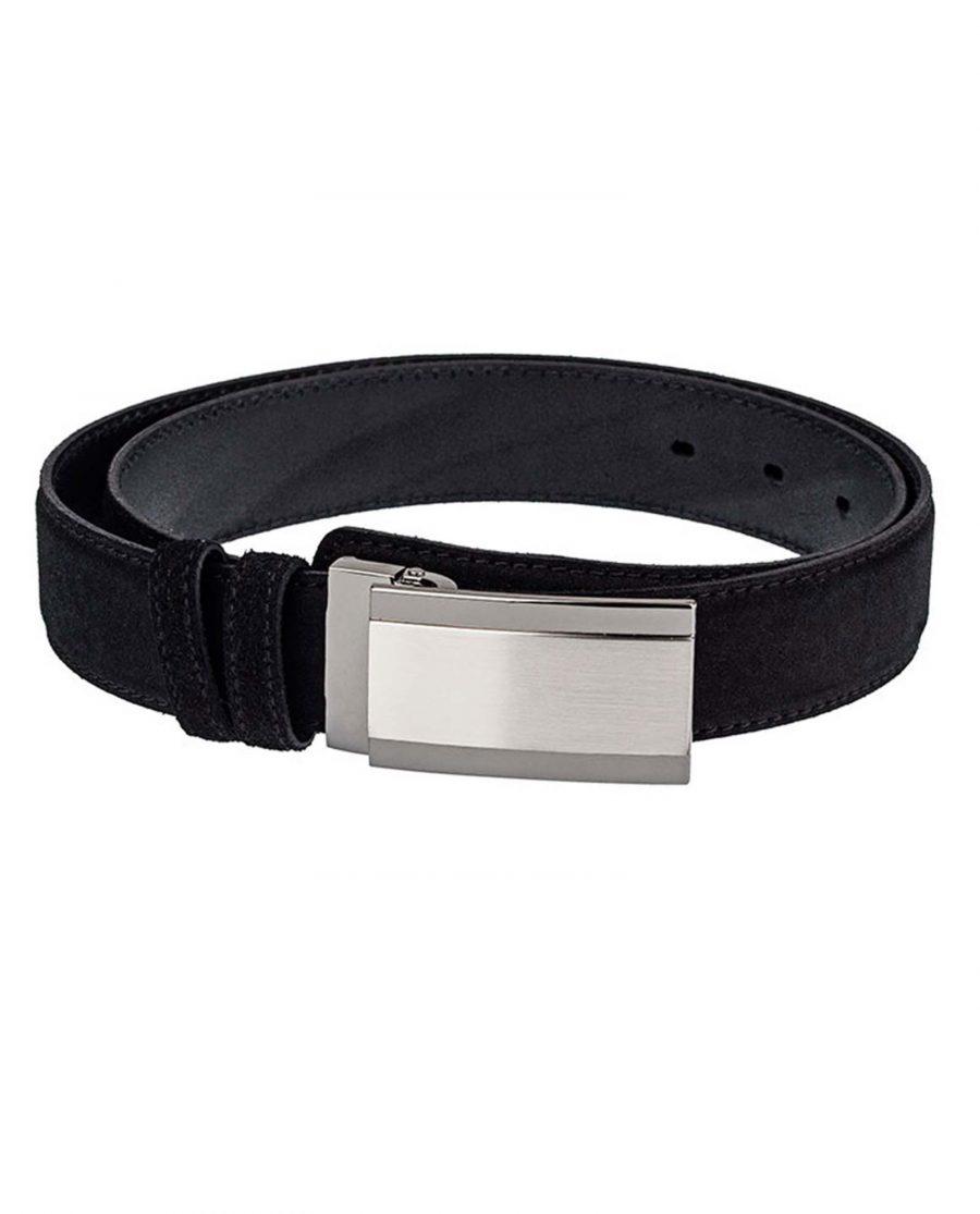 Black-Suede-Three-Buckles-Belt-Set-Front-Image3