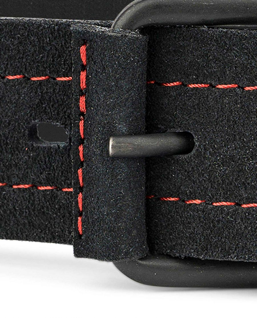Black-Suede-Wide-Belt-40-mm-Mens-Leather-Belts-by-Capo-Pelle-Red-stitching