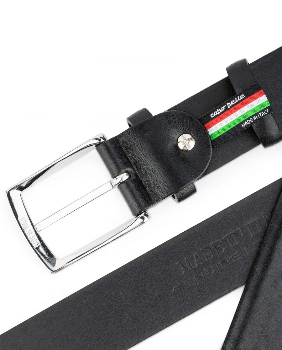 Black-Vegetable-Tanned-Leather-Belt-Capo-Pelle-Heat-stamp