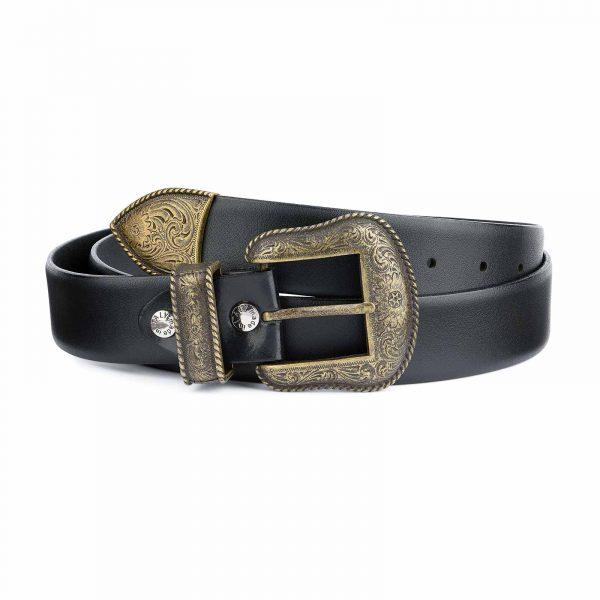Black-Western-Belt-Mens-Bronze-Belt-Buckle-Cowboy